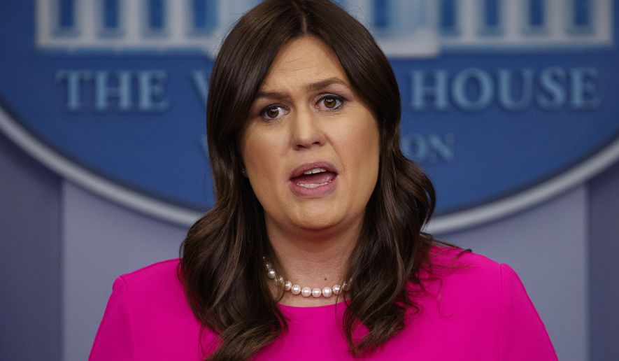White House press secretary Sarah Huckabee Sanders speaks during the daily press briefing at the White House, Wednesday, May 9, 2018, in Washington. (AP Photo/Evan Vucci)