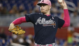 Atlanta Braves' Sean Newcomb delivers a pitch during the first inning of a baseball game against the Miami Marlins, Sunday, May 13, 2018, in Miami. (AP Photo/Wilfredo Lee)