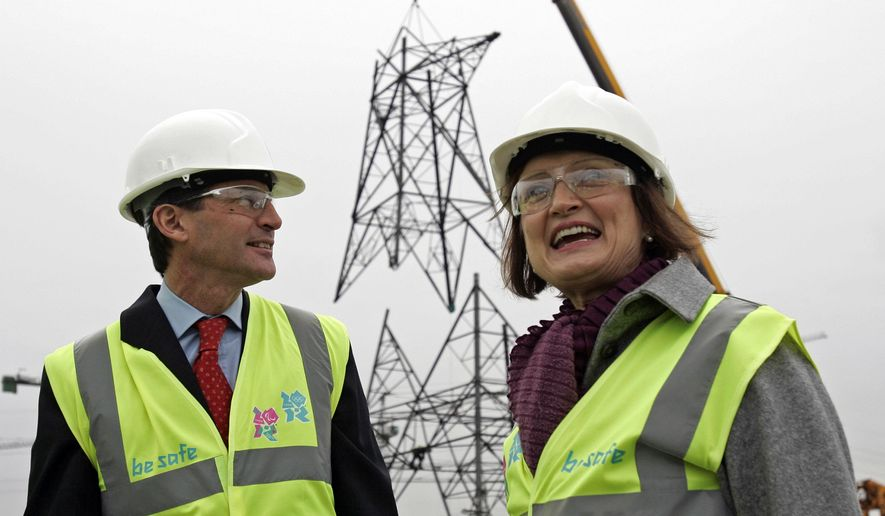 "FILE - In this Thursday, Nov. 13, 2008 file photo, Britain Olympics Minister Tessa Jowell, right, and Sebastian Coe, Chairman of the London 2012 Organising Committee, pose in front of a powerline pylon at the 2012 Olympic Park site in London. Tessa Jowell, the former U.K. culture secretary who played a key role in securing the 2012 London Olympics, has died her family has said on Sunday, May 13, 2018. Jowell, was 70, was diagnosed with a brain tumor last year. Among those offering condolences were former Prime Minister Tony Blair who praised Jowell's ""passion, determination and simple human decency."" (AP Photo/Sang Tan, file)"