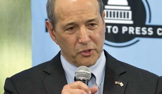 FILE - In this April 17, 2018, file photo, Jeffrey Bleich, Democratic candidate for lieutenant governor in the upcoming primary election, speaks during a debate sponsored by the Sacramento Press Club in Sacramento, Calif. (AP Photo/Steve Yeater, File)