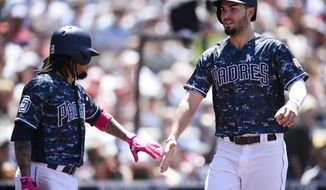 San Diego Padres' Eric Hosmer, right, celebrates with Freddy Galvis after scoring a run on an RBI-single by Travis Jankowski during the third inning of a baseball game against the St. Louis Cardinals in San Diego, Sunday, May 13, 2018. (AP Photo/Kelvin Kuo)