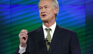 FILE - In this Oct. 13, 2015, file photo, former Rhode Island Gov. Lincoln Chafee speaks during the a Democratic presidential debate in Las Vegas. Chafee, a Republican-turned independent-turned-Democrat, is considering a 2018 run for the Senate seat he lost to Democrat Sheldon Whitehouse in 2006. (AP Photo/John Locher, File)