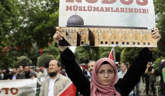 "Members of pro-Islamic NGO IHH and other groups holding Turkish and Palestinian flags stage a rally following Friday prayers in Istanbul, Friday, May 11, 2018 to protest the US decision to relocate its Israeli embassy to Jerusalem. The embassy is moving from Tel Aviv in line with President Donald Trump's recognition of Jerusalem as Israel's capital. The placard in Turkish reads: "" Jerusalem belongs to the Muslims.""(AP Photo/Erhan Demirtas)"