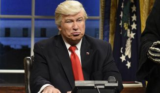 """Alec Baldwin's parody of President Trump has appeared in multiple cold openings of NBC's """"Saturday Night Live."""" But the schtick is getting stale. in an """"cold open"""" sketch for NBC's """"Saturday Night Live"""" in New York. (Will Heath/NBC via AP) (ASSOCIATED PRESS)"""