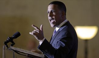 Maryland Democratic gubernatorial candidate, Lt. Gov. Anthony Brown, campaigns before introducing first lady Michelle Obama during a get-out-the-vote rally, Monday, Nov. 3, 2014, in Baltimore. Maryland voters will choose a successor to Maryland Gov. Martin O'Malley Tuesday, Nov. 4. (AP Photo/Patrick Semansky) ** FILE **