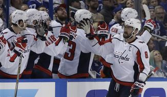 Washington Capitals left wing Alex Ovechkin (8) celebrates with the bench during the second period of Game 2 of the NHL Eastern Conference finals hockey playoff series against the Tampa Bay Lightning Sunday, May 13, 2018, in Tampa, Fla. (AP Photo/Chris O'Meara) **FILE**
