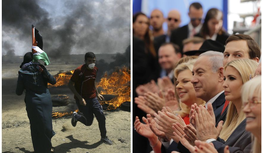 "In this photo combination, Palestinians protest near the border of Israel and the Gaza Strip, left, and on the same day dignitaries, from left, Sara Netanyahu, her husband Israeli Prime Minister Benjamin Netanyahu, Senior White House Advisor Jared Kushner, and U.S. President Donald Trump's daughter, Ivanka Trump, applaud at the opening ceremony of the new U.S. embassy in Jerusalem on Monday, May 14, 2018. Netanyahu praised the inauguration of the embassy as a ""great day for peace,"" as dozens of Palestinians have been killed in Gaza amidst ongoing clashes. (AP Photo)"
