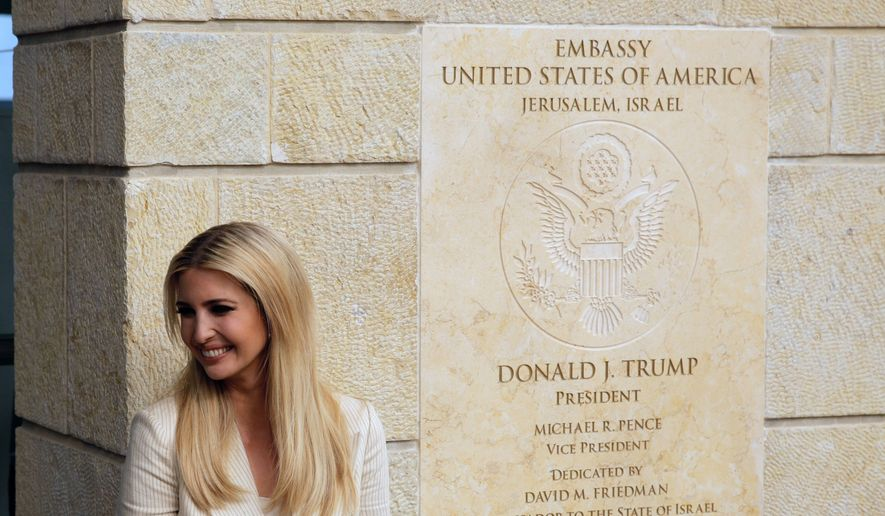 U.S. President Donald Trump's daughter Ivanka Trump, attends the opening ceremony of the new U.S. embassy in Jerusalem, Monday, May 14, 2018. Amid deadly clashes along the Israeli-Palestinian border, President Donald Trump's top aides and supporters on Monday celebrated the opening of the new U.S. Embassy in Jerusalem as a campaign promised fulfilled. (AP Photo/Sebastian Scheiner)