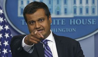 "White House principal deputy press secretary Raj Shah speaks during the daily news briefing at the White House, in Washington, Monday, May 14, 2018. Shah discussed the opening of the new U.S. Embassy in Jerusalem, a White House aide who dismissed Sen. John McCain's opposition on the president's nominee to be CIA director saying, ""he's dying anyway,"" and other topics. (AP Photo/Carolyn Kaster)"