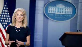 Counselor to the President Kellyanne Conway speaks on television in the Briefing Room at the White House in Washington, Monday, May 14, 2018. (AP Photo/Andrew Harnik) ** FILE **