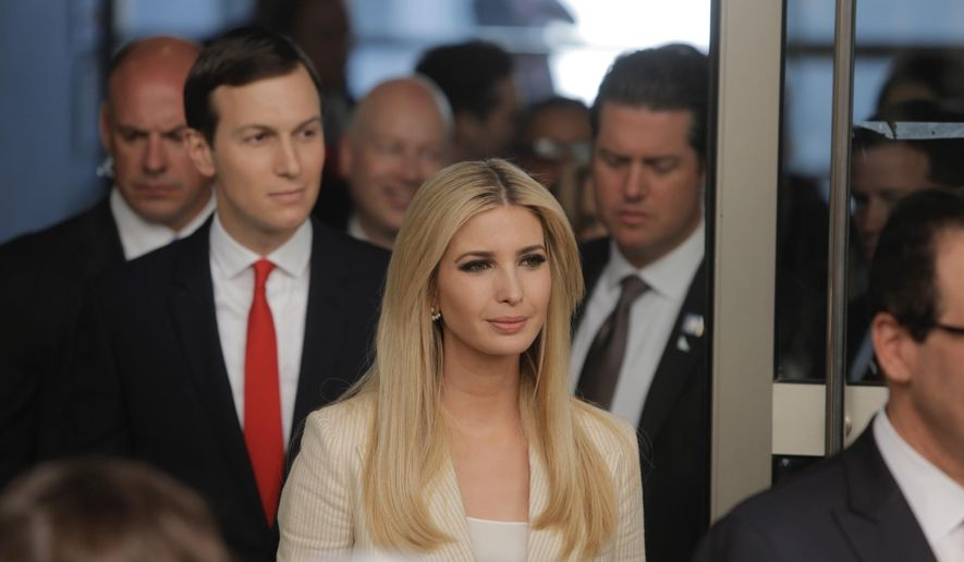 U.S. President's daughter Ivanka Trump and Senior White House Advisor Jared Kushner, arrive for the opening ceremony of the new U.S. embassy in Jerusalem, Monday, May 14, 2018. Amid deadly clashes along the Israeli-Palestinian border, President Donald Trump's top aides and supporters on Monday celebrated the opening of the new U.S. Embassy in Jerusalem as a campaign promised fulfilled. (AP Photo/Sebastian Scheiner)