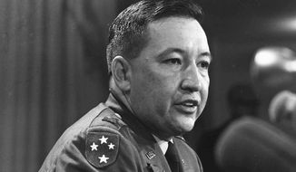 In this Dec. 4, 1969, file photo, U.S. Army Capt. Ernest Medina, a key figure in the 1968 My Lai massacre during the Vietnam war, speaks at a news conference at the Pentagon. Medina died on May 8, 2018, according to an obituary written by his family. He was 81. (AP Photo/File)