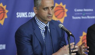 Phoenix Suns head coach Igor Kokoskov speaks to the media Monday, May 14, 2018, in Phoenix. Kokoskov will oversee a vastly improved team after they compiled the worst record in the NBA last season. (AP Photo/Matt York)