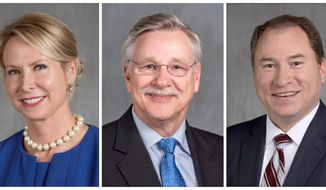 FILE - This combination of undated, file photos provided in February and March 2018 by the Arkansas Secretary of State's office shows Courtney Goodson, from left, Kenneth Hixson and David Sterling, candidates for a position on the Arkansas Supreme Court. Goodson is the incumbent, as Hixson sits on the Arkansas Court of Appeals, and Sterling is chief counsel for the Arkansas Department of Human Services. (Arkansas Secretary of State via AP, File)