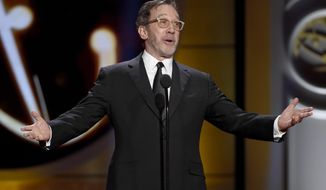 "FILE - In this April 30, 2017, file photo, Tim Allen speaks onstage at the 44th annual Daytime Emmy Awards at the Pasadena Civic Center, in Pasadena, Calif. Fox is bringing ""Last Man Standing"" to its fall lineup, a year after ABC dropped the Allen comedy. (Photo by Chris Pizzello/Invision/AP, File)"