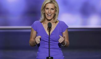 Fox News prime time host Laura Ingraham has bested MSNBC host Rachel Maddox in a key audience demographic for the very first time. (ASSOCIATED PRESS)