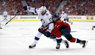 Tampa Bay Lightning left wing Alex Killorn (17) and Washington Capitals defenseman Matt Niskanen (2) collide during the first period of Game 3 of the NHL Eastern Conference finals hockey playoff series, Tuesday, May 15, 2018, in Washington. (AP Photo/Alex Brandon)