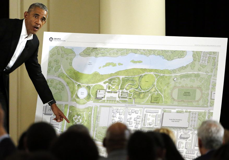 In this May 3, 2017, file photo, former President Barack Obama speaks at a community event on the Presidential Center at the South Shore Cultural Center in Chicago. The Obama Presidential Center will not be a part of the presidential library network operated by the National Archives and Records Administration. Public park advocates have filed a lawsuit against the city of Chicago seeking to stop construction of the center. The group also wants to bar the city from giving control of the center's site to the Obama Foundation. (AP Photo/Nam Y. Huh, File)