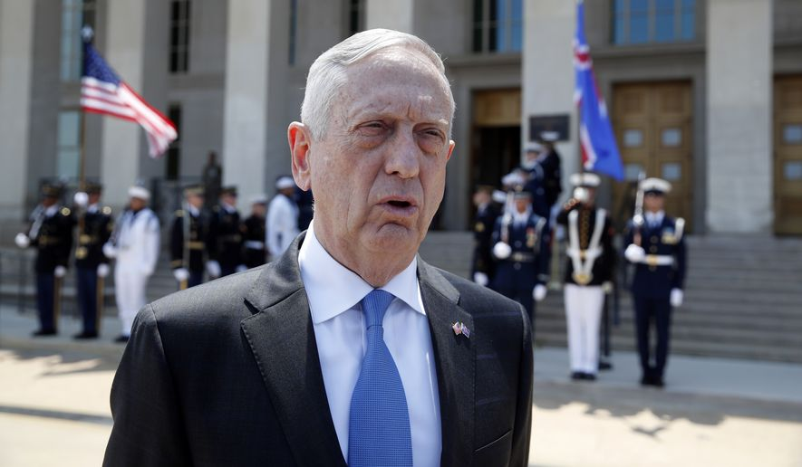 Defense Secretary Jim Mattis speaks with the media before the arrival of Iceland's Foreign Affairs Minister Gudlaugur Thor Thordarson at the Pentagon, Tuesday, May 15, 2018, in Washington. (AP Photo/Alex Brandon) ** FILE **