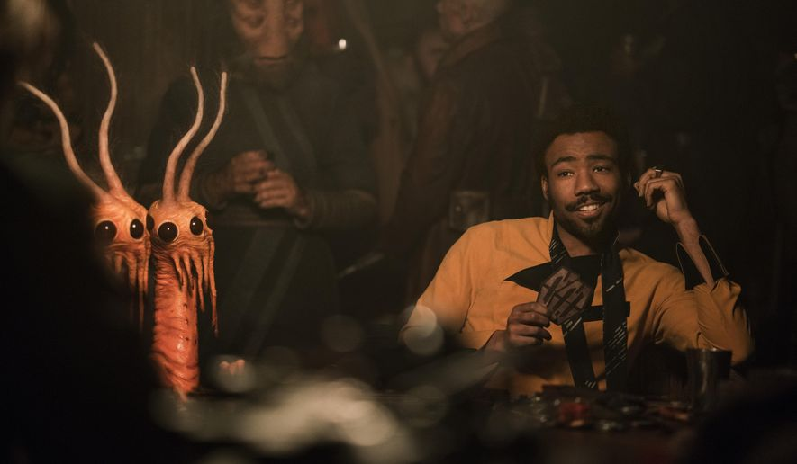 "This image released by Lucasfilm shows Donald Glover as Lando Calrissian in a scene from ""Solo: A Star Wars Story."" (Jonathan Olley/Lucasfilm via AP)"