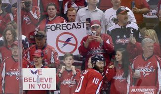 Washington Capitals fans hold up signs during warm ups before Game 3 of the NHL Eastern Conference finals hockey playoff series between the Washington Capitals and the Tampa Bay Lightning, Tuesday, May 15, 2018 in Washington. Also seen is Washington Capitals right wing Brett Connolly (10). (AP Photo/Nick Wass) **FILE**
