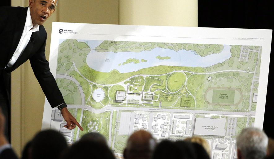 FILE - In this May 3, 2017, file photo, former President Barack Obama speaks at a community event on the Presidential Center at the South Shore Cultural Center in Chicago. The Obama Presidential Center will not be a part of the presidential library network operated by the National Archives and Records Administration. Public park advocates have filed a lawsuit against the city of Chicago seeking to stop construction of the center. The group also wants to bar the city from giving control of the center's site to the Obama Foundation. (AP Photo/Nam Y. Huh, File)