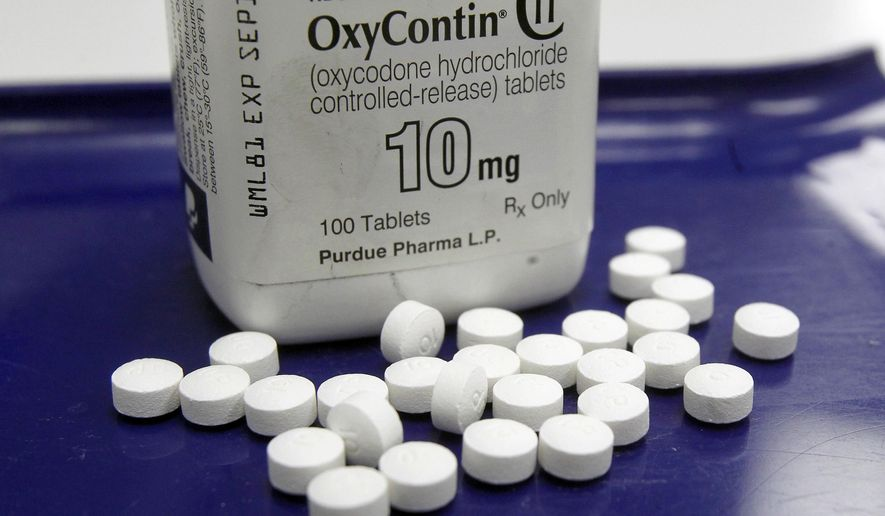 FILE - This Feb. 19, 2013, file photo shows OxyContin pills arranged for a photo at a pharmacy in Montpelier, Vt. Nevada and five other states are filing new lawsuits alleging that a pharmaceutical company used deceptive marketing to boost drugs sales that fueled opioid overdose deaths. Nevada state Attorney General Adam Paul Laxalt alleges in a civil complaint filed Tuesday, May 15, 2018, that Purdue Pharma minimized risks and overstated benefits of long-term use of narcotic opioids including OxyContin. (AP Photo/Toby Talbot, File)
