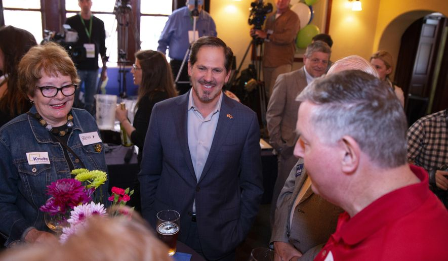 Republican gubernatorial candidate Knute Buehler gathered with supporters in Wilsonville, Oregon, on Tuesday, May 15, 2018. Buehler, a doctor and state representative from Bend, won Tuesday's GOP gubernatorial primary and will face Gov. Kate Brown in November. (Randy L. Rasmussen/The Oregonian via AP)