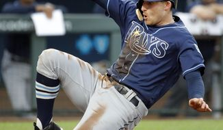 Tampa Bay Rays' Brad Miller slides home to score on a sacrifice fly hit by Mallex Smith during the third inning of a baseball game against the Kansas City Royals Tuesday, May 15, 2018, in Kansas City, Mo. (AP Photo/Charlie Riedel)