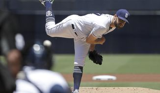 San Diego Padres starting pitcher Jordan Lyles works against a Colorado Rockies batter during the first inning of a baseball game Tuesday, May 15, 2018, in San Diego. (AP Photo/Gregory Bull)