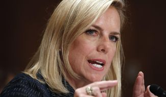 Homeland Security Secretary Kirstjen Nielsen testifies to the Senate Homeland Security Committee, Tuesday, May 15, 2018, on Capitol Hill in Washington. (AP Photo/Jacquelyn Martin)