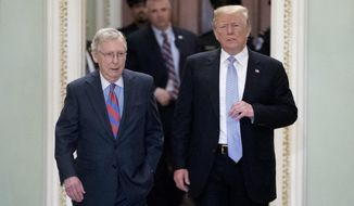 President Donald Trump accompanied by Senate Majority Leader Mitch McConnell of Ky., left, arrives for a Senate Republican Policy lunch on Capitol Hill in Washington, Tuesday, May 15, 2018. (AP Photo/Andrew Harnik)