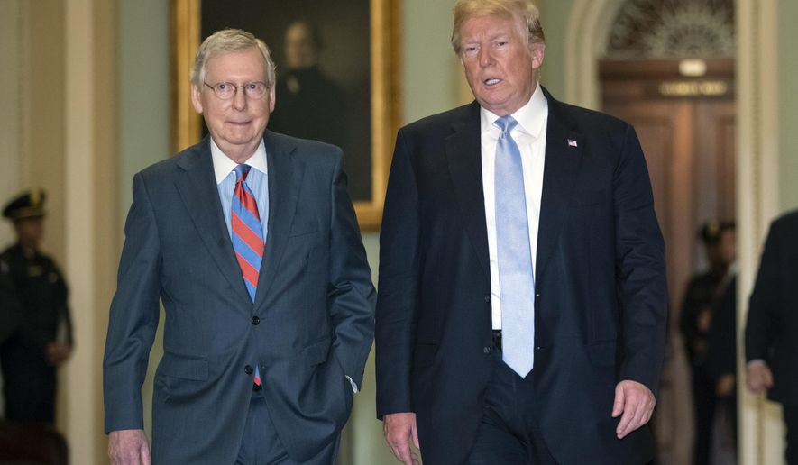 President Donald Trump walks with Senate Majority Leader Mitch McConnell, R-Ky., left, to a closed-door meeting with Senate Republicans at the Capitol in Washington, Tuesday, May 15, 2018. (AP Photo/J. Scott Applewhite)