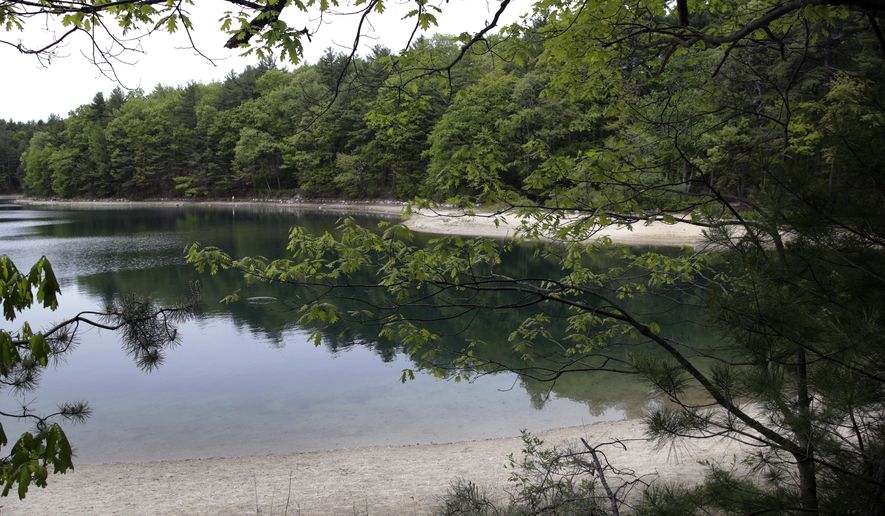 A view of Walden Pond in Concord, Mass., where the 19th century American philosopher and naturalist Henry David Thoreau spent two years in solitude and reflection. A new Playstation game devoted to the Thoreau classic debuts on Tuesday, May 15, 2018. (AP Photo/Elise Amendola, File)