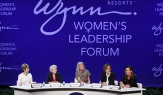 From left, Betsy Atkins, entrepreneur, Pat Mulroy, senior fellow for the Brookings Institute, Kim Sinatra, Dee Dee Myers, executive vice president at Warner Bros., and Wendy Webb, CEO of Kestrel Advisors, participate during a women's forum at the Wynn hotel and casino, Monday, May 14, 2018, in Las Vegas. (AP Photo/John Locher)