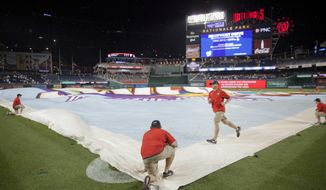 Members of the ground crew cover the infield during a rain delay in the sixth inning of an interleague baseball game between the New York Yankees and Washington Nationals at Nationals Park, Tuesday, May 15, 2018, in Washington. (AP Photo/Pablo Martinez Monsivais)