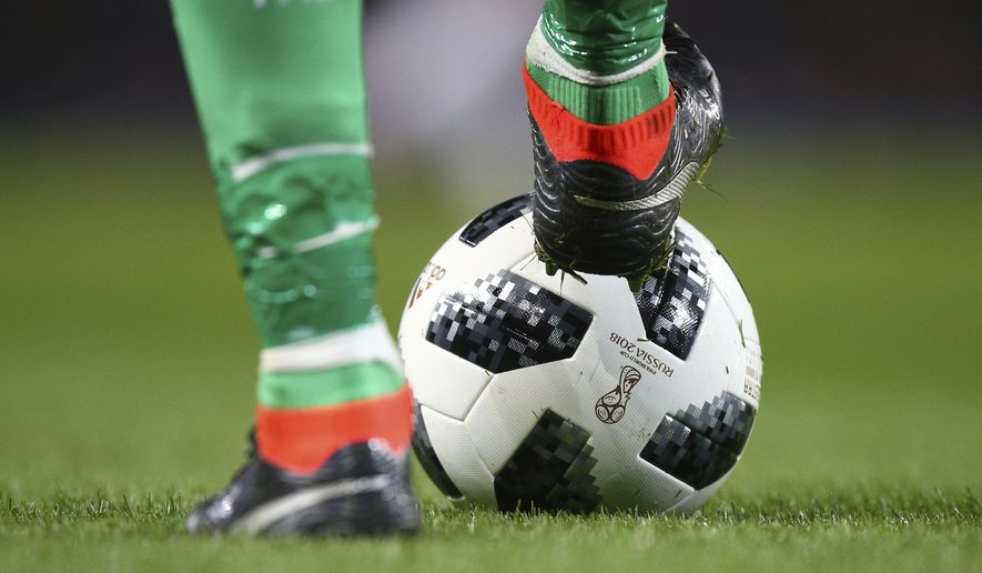 World cup match ball during the International Friendly soccer match between Argentina and Italy at the Etihad Stadium in Manchester, England, Friday, March 23, 2018. (AP Photo/Dave Thompson)