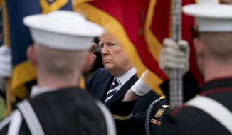 President Donald Trump salutes during a review of troops during a State Arrival Ceremony on the South Lawn of the White House in Washington, Tuesday, April 24, 2018. (AP Photo/Andrew Harnik) ** FILE **