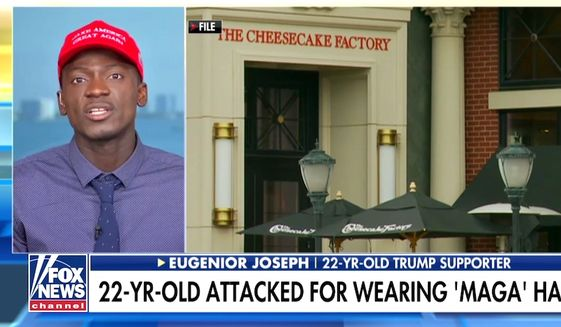"The Cheesecake Factory Incorporated apologized on May 16, 2018, for the treatment of customer Eugene Joseph, seen here, during a Mother's Day visit. Employees at one of the chain restaurant's Miami locations intimidated him for wearing a ""Make America Great Again"" hat. (Image: Fox News screenshot)"