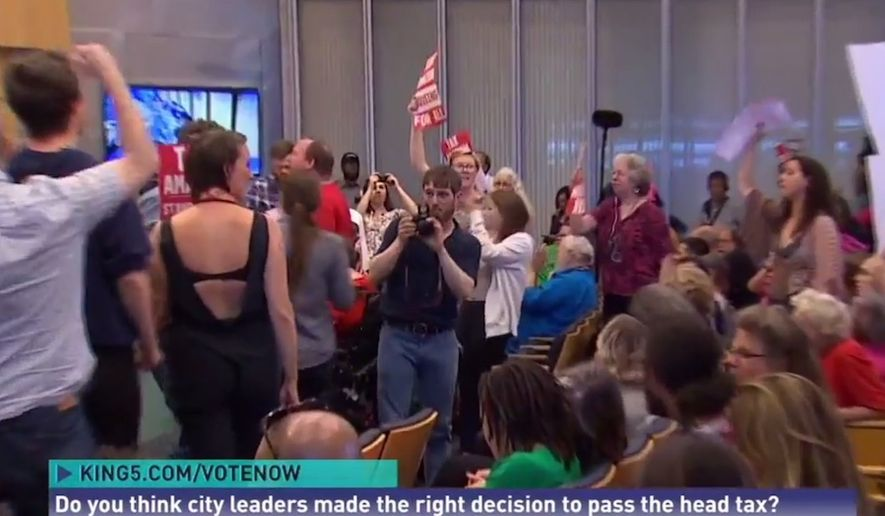 "Seattle residents chant, ""we'll be back for more!"" after the city council passed its controversial ""head tax,"" May 14, 2018. (Image: King5-NBC screenshot)"