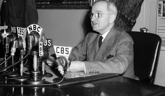 FILE - In this April 25, 1945, file photo, U.S. President Harry S. Truman speaks from a desk in Washington. The Missouri Senate on Tuesday, May 15, 2018, voted 32-0 on a proposal directing that a statue of the former president from Missouri be displayed in the U.S. Capitol. States get to choose two people for the National Statuary Hall Collection, and Missouri has displayed the same two men since the end of the 19th century. Truman will displace one of them. (AP Photo/File)