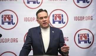 Republican Russ Fulcher thanks supporters for his victory in the Idaho primary at an election night party Tuesday, May 15, 2018, in Boise, Idaho. In the crowded 1st Congressional District race, Fulcher won the nomination for the seat being vacated by Republican Congressman Raul Labrador, who was running for the GOP's gubernatorial nomination in a race that was still too close to call just before midnight. (Darin Oswald/Idaho Statesman via AP)