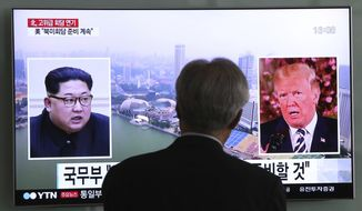 A man watches a TV screen showing file footage of U.S. President Donald Trump, right, and North Korean leader Kim Jong Un during a news program at the Seoul Railway Station in Seoul, South Korea, Wednesday, May 16, 2018. North Korea's breaking off a high-level meeting with South Korea and threatening to scrap next month's historic summit with President Trump over allied military drills is seen as a move by Kim to gain leverage and establish that he's entering the crucial nuclear negotiations from a position of strength. Washington and Seoul, which have no intentions to overpay for whatever Kim brings to the table, say international sanctions forced Kim into talks after a flurry of weapons tests. (AP Photo/Ahn Young-joon)