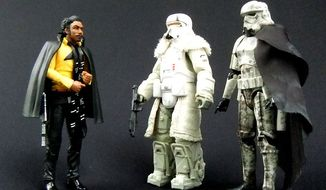 "Hasbro's Black Series ""Solo: A Star Wars Story"" figures include Lando Calrissian, Range Trooper and Mimban Stormtrooper.  (Photograph by Joseph Szadkowski / The Washington Times)"