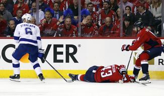 Washington Capitals right wing Tom Wilson (43) lies on the ice after a hit by Tampa Bay Lightning defenseman Anton Stralman (6), from Sweden, during the first period of Game 3 of the NHL Eastern Conference finals hockey playoff series, Tuesday, May 15, 2018, in Washington. Stralman was given a two-minute penalty for boarding. The Lightning won 4-2. (AP Photo/Alex Brandon)