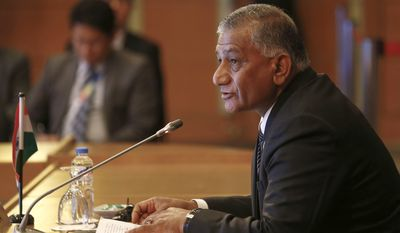 Shri V.K. Singh, India's minister of State for External Affairs, addresses representatives of other ASEAN foreign ministers during the ASEAN-India Ministerial Meeting of the 50th ASEAN Foreign Ministers Meeting and their Dialogue Partners Sunday, Aug. 6, 2017 in Manila, Philippines. The annual forum, hosted by the Association of Southeast Asian Nations (ASEAN), brings together the top diplomats from 26 countries and the European Union for talks on political and security issues in Asia-Pacific. (Rolex Dela Pena/Pool Photo via AP)