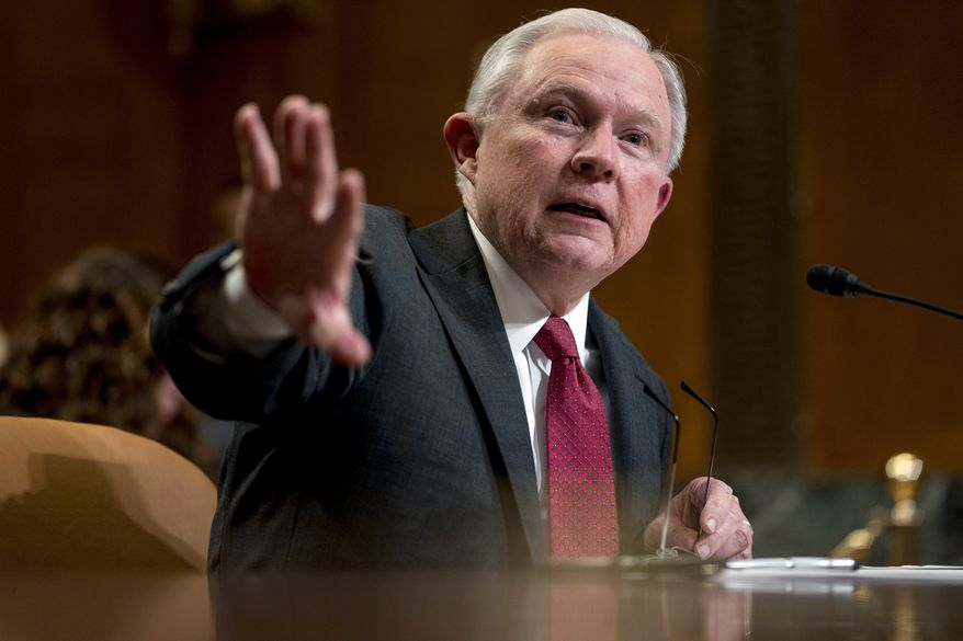Attorney General Jeff Sessions speaks at a Senate Appropriations subcommittee on the Department of Justice's budget on Capitol Hill, Wednesday, April 25, 2018, in Washington. (AP Photo/Andrew Harnik) **FILE**