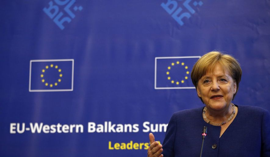 German Chancellor Angela Merkel addresses the media at an EU and Western Balkan heads of state summit at the National Palace of Culture, in Sofia, Bulgaria, Thursday, May 17, 2018. (AP Photo/Darko Vojinovic)