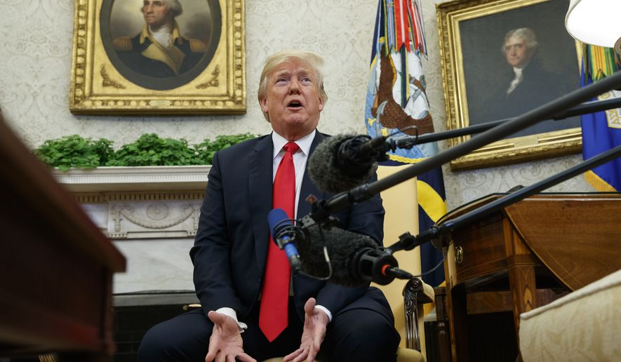 President Donald Trump speaks during a meeting with NATO Secretary General Jens Stoltenberg in the Oval Office of the White House, Thursday, May 17, 2018, in Washington. (AP Photo/Evan Vucci)