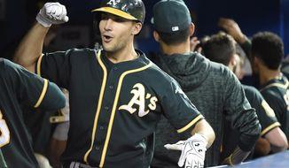 Oakland Athletics' Matt Olson (28) celebrates with teammates after hitting a home run during the fifth inning against the Toronto Blue Jays in a baseball game Thursday, May 17, 2018, in Toronto. (Nathan Denette/The Canadian Press via AP)